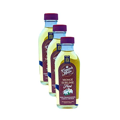 Veritable Monoi de Tahiti - Sublime Tiara Natural - PUR 99% Monoi - Comptoir del Monoi - para Corp y cabello - fabricado en Francia - nuevo formato flacon vidrio 100 ml - X3