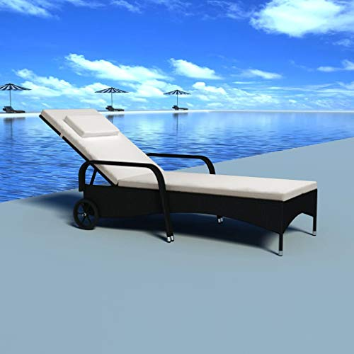vidaXL Sun Lounger with Cushion & Wheels,Outdoor Patio Woven Chair, for Sunbathing, Relaxation - Great Patio, Pool Deck, Garden, Lawn or Beach Lounging Chair, 78' x 26' x (11.8'-38.6')