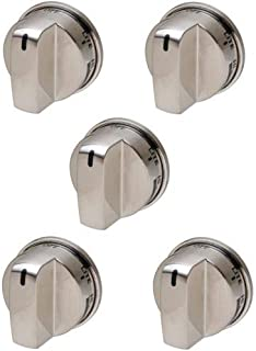 5-Pack Stainless Knob Replaces for LG EBZ37189611 WB03K10286 Stove Range Non Super Broil
