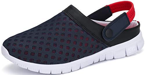 SAGUARO Zuecos para Hombre Mujer Zapatillas de Playa Ligeros Respirable Sandalias del Acoplamiento Ahueca hacia Fuera Zapatillas de Jardín, Rojo, 39 EU