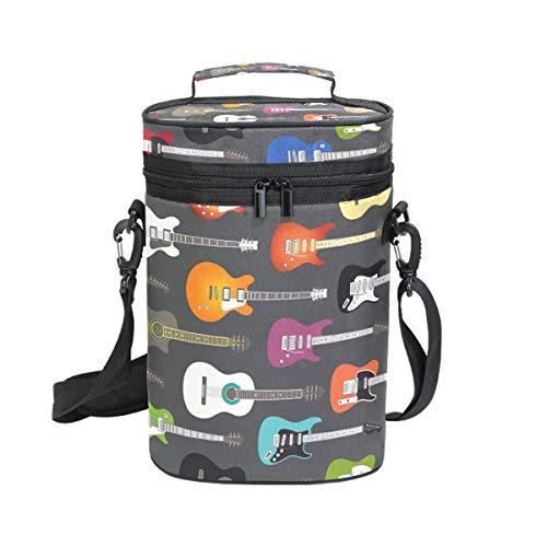 FANTAZIO Weinkühler für elektrische Gitarren, mit Hintergrundmuster, isoliert, auslaufsicher, gepolstert, für 2 Flaschen, Weinflaschen, Tragetasche für Reisen, Camping und Picknick