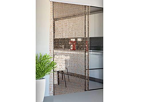 Biancheriaweb Rideau moustiquaire pour Porte Anti-Mouches, Beige, 100 x 200 cm, 80 Fils perlés, Porte-fenêtre, Panneau avec Support PVC
