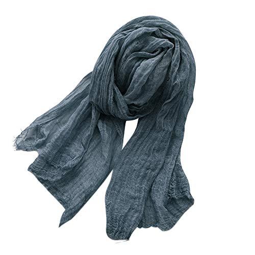 Asudaro – Pañuelo de algodón para mujer, bufanda de algodón, para primavera y verano, para todo el año, 180 x 67 cm, azul marino