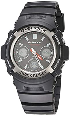 Casio Men's G-Shock AWG-M100-1ACR Tough Solar Atomic Black Resin Sport Watch
