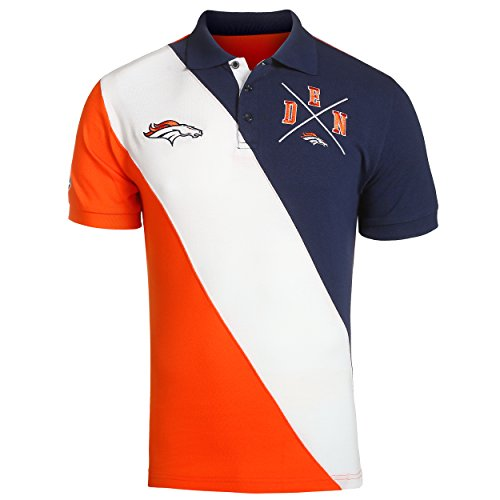 Klew Denver Broncos NFL Men's Diagonal Stripe Polo