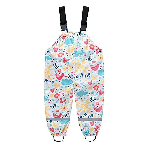 Toddler Boys Girls Rain Dungarees Pants Cartoon Printed Overall Windproof Waterproof Mud Jumpsuit Clothes for Unisex Kid White