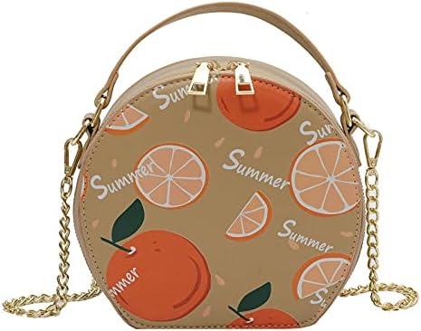 QZUnique Orange Pattern Shoulder Bag Cute Small Round Crossbody Bag Summer Beach Handbag