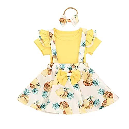 FYMNSI Conjunto de 3 piezas para bebé y niña con estampado floral y falda de tutú + diadema con lazo