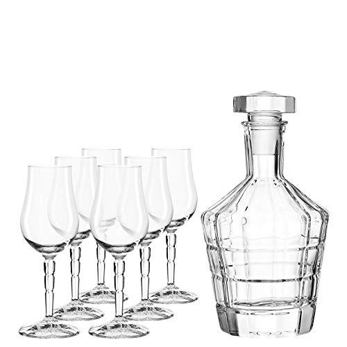 Leonardo Spiritii Karaffe und Tasting-Gläser, Tasting-Set, Whiskey-Gläser mit Glas-Karaffe, 7er Set, 190 ml und 750 ml, 032824