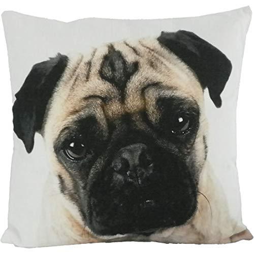 Kissen mit Hunde-Motiv 50x50 Groß | Zierkissen mit Füllung | Dekokissen mit Kissenhülle waschbar für Sofa Couch Bett | Geschenke-Ideen für Hundeliebhaber Hundebesitzer zu Weihnachten | Mops