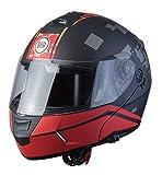 BHR Helmets 805 POWER Casco Moto Unisex Adulto, Nero/Rosso, M