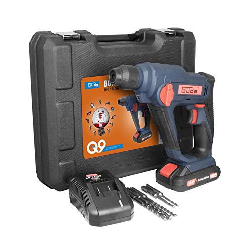 Güde 58508 BH 18-201-30K Akku Bohrhammer (18V E³ Akkusystem, 2.0Ah Li-Ionen Batterie, Koffer, 5x SDS Plus Bohrer)