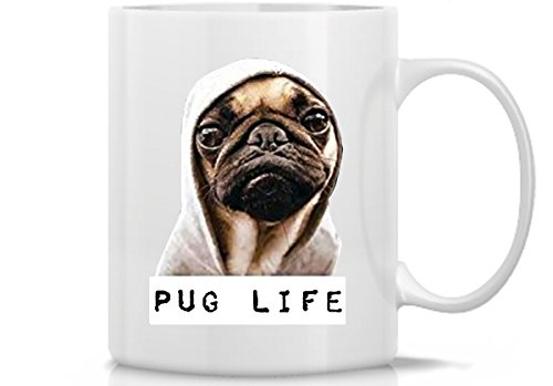 Funny Adult Unisex Pug Life Funny Dog Thug Life 11 Oz White Ceramic Mug gift for Dog Lovers, Mom, Dad, Sister Brother, Friends and Family for Christmas Holidays