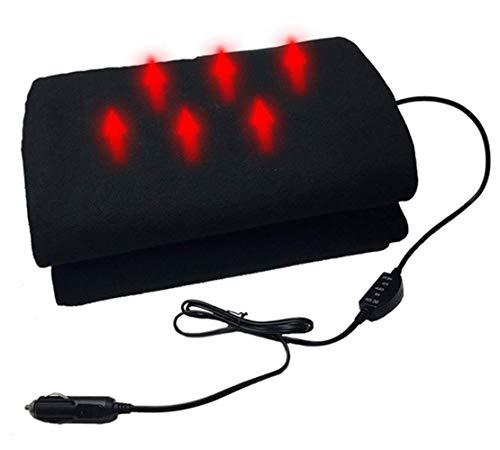 Manta de Viaje con calefacción de automóviles, 12V Manta eléctrica para automóviles para automóviles Manta cómoda Manta con calefacción Suave para el hogar / 145 * 100 cm nyfcck