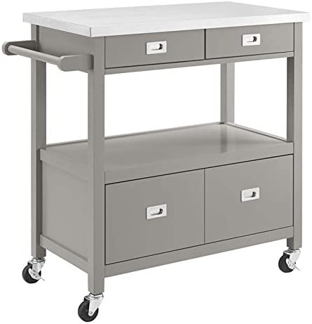 Riverbay Furniture Pine Wood Stainless Top Microwa New popularity Ranking TOP19 Rolling Steel