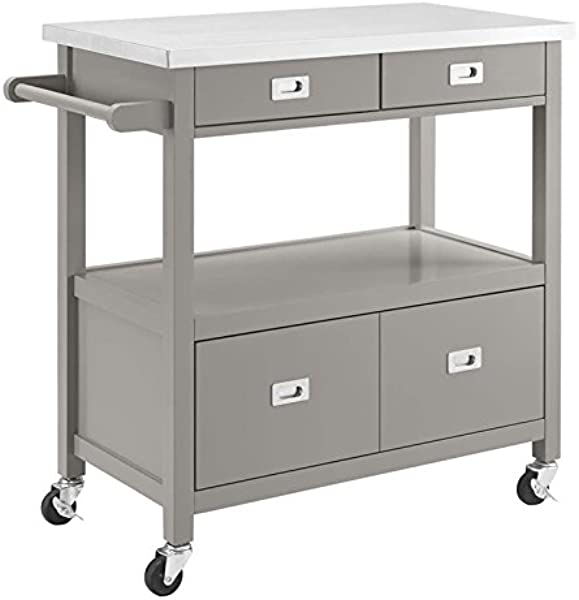 Riverbay Furniture Stainless Steel Top Kitchen Cart In Gray