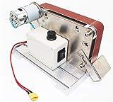 DONDOW Mini lijadora de correa pulidora eléctrica de escritorio DC 24 V pulido carpintería afilador 12000 RPM arena molino velocidad y tamaño de la correa de 30 * 533 mm