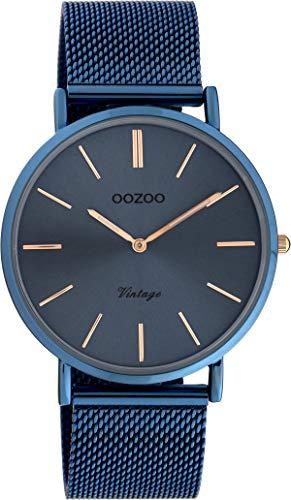 Oozoo Vintage Damenuhr mit Milanaiseband Blue Steel 40 MM Blau C9875
