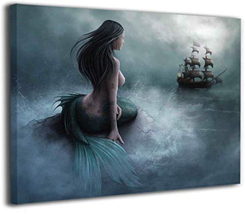Art 1 Piece of Misty Ocean Mermaid and Sailing Pirate Ship, Living Room Bedroom Bathroom Home Wall Art Decoration, Canvas Print (16x24inch,Framed)