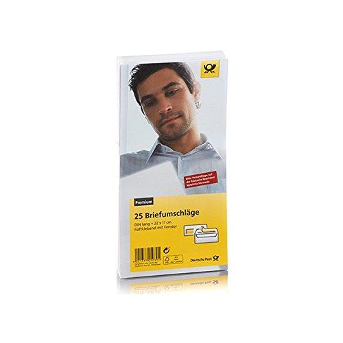 Deutsche Post 25 Umschläge - DIN Lang - 22 x 11 cm - weiß haftklebend mit Fenster