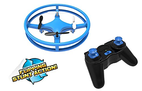 Mindscope Sky Lighter Disc Drone Blue Light Up LED Glow Stunt Action Radio Control RC Technology