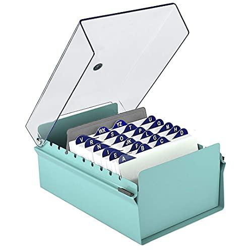 """Acrimet Fichero Tarjetero 4"""" X 6"""" Organizador de Tarjetas con Divisor y Indice A-Z incluidos (Índice A-Z 155mm X 115mm) (Base de Metal Resistente Color Verde y Tapa de Plástico Transparente)"""