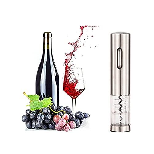 Abridor de vino eléctrico, sacacorchos automático recargable, abridor de botellas de vino profesional, cortador de papel de aluminio, vertedor de vino, regalo ideal para los amantes del vino,Silver