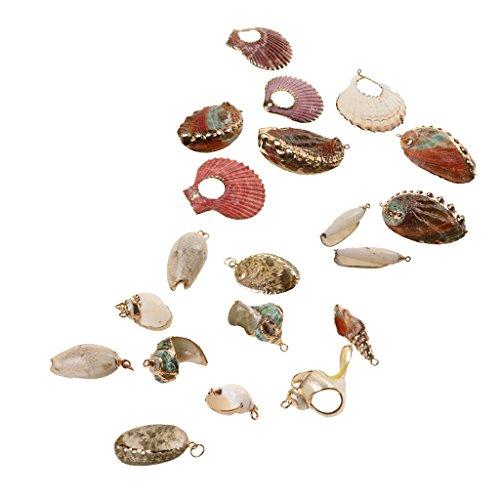 sharprepublic Lote Miniatura Conchas de Mar Abalorios Espiral Náutico Pequeño Concha Cauri de Mar Cuenta Pulsera