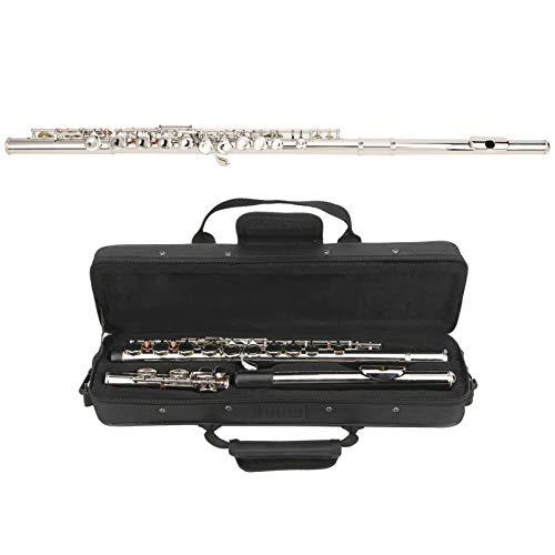 Flauta C de 16 orificios, almohadilla de carcasa de oveja de latón Flauta de llave cerrada con bolsa de almacenamiento Instrumento musical de resonancia de tubo aumentado(Silver)