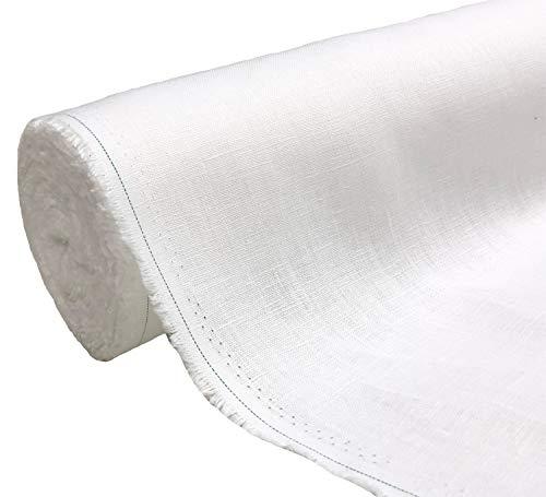 A-Express Natural Pura 100% Tela de lino Material suave Confección de vestidos Moda Bolsa de lino 140cm ancho - 1 Metro (100cm x 140cm) Blanco