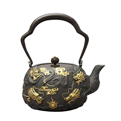 Black Cast Iron Teapot 1300ML Japanese Tea Kettle Uncoated Kettle Healthy Pot Handmade Chinese Collection Health Gift