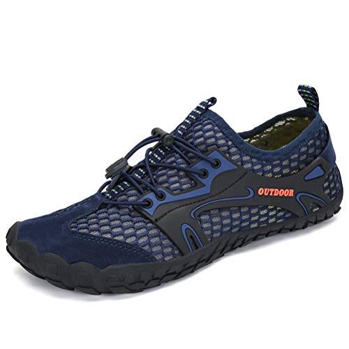 Dannto Herren Damen Wanderschuhe Trekkingschuhe Anti-Rutsch Super Atmung Wanderstiefel Sportlich Bequem Sommer LeichtOutdoor Fitnessschuhe Hiking Sneaker Barfußschuhe für Kinder(Blau-47