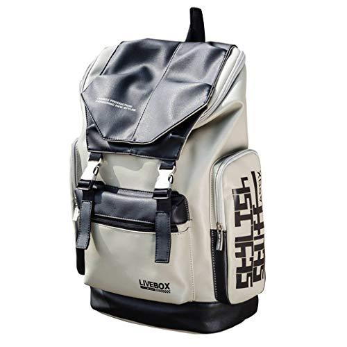Casual Flut Marke Schultasche, Rucksack Herrenmode Trend Gymnasiasten Einfache koreanische Reiserucksack,Grey
