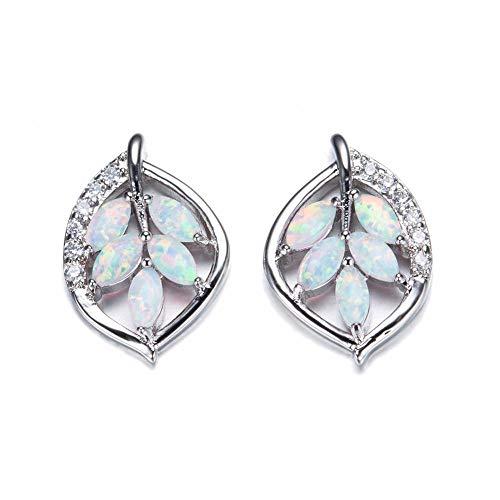 lbince Ohrring Damen Mode Kristall Pflanze Ohrringe Sterling-Silber Feuer Opal Blätter Ohrstecker-A2