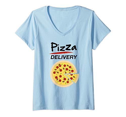 Mujer Disfraz de Repartidor Pizzas para Grupos Hombre Mujer Nios Camiseta Cuello V