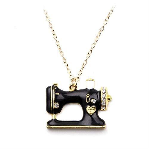 Liuqingzhou Co.,ltd Collar Nuevo declaración aleación de Esmalte máquina de Coser Collares Colgantes Gargantilla Collar de Cadena joyería para Mujeres y niñas Accesorios