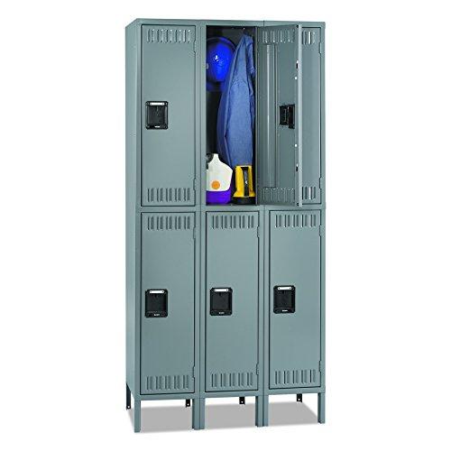 Tennsco DTS1218363MG Double Tier Locker with Legs, Triple Stack, 36w x 18d x 78h, Medium Gray