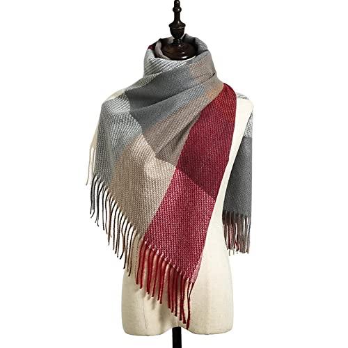 ShSnnwrl Wrap for Women Neatly Stitched Mujer Bufanda a Cuadros Invierno cálido Chal y Abrigo pañueloFemenino Foulard Manta Larga