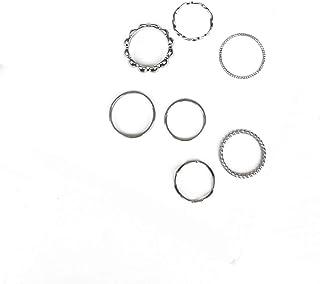 7Pcs Simple Minimalist Staching Ring Flower Bead Twist Wave Polished Circle Ring for Women Girls Fashion Jewelry