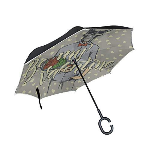 Double Layer Inverted Reverse Umbrella Reise Valentinstag Sweet Taro In Love Damen Reverse Umbrella Klappstühle Umbrella Winddichter UV-Schutz für Regen mit C-förmigem Griff