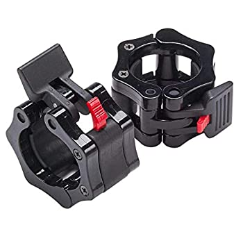 Quick Release Non-Slip Pair 2  Olympic Barbell Collar ABS Locking Set Black Clamps Great for Pro Training/Workout Weightlifting/Fitness Training