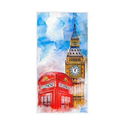 PIXIUXIU - Toallas de mano de secado rápido para pintura del Big Ben, toallas faciales absorbentes, suaves, gruesas, absorbentes, para uso diario, 76 x 15 pulgadas
