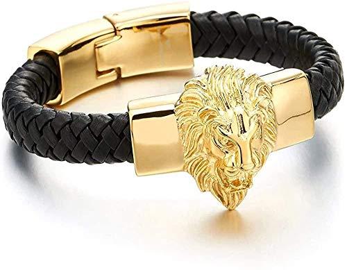 Ahuyongqing Co.,ltd Brazalete Grande de Cuero Trenzado para Hombre con león de Acero Dorado y brazaletes de Cuero Genuino Negro