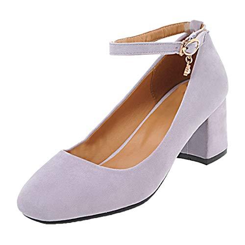MISSUIT Damen Chunky Heels Pumps mit Blockabsatz und Riemchen 5cm Absatz Ankle Strap Schuhe(Lila,34)