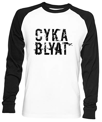 Cyka Blyat Unisex Mannen Dames Honkbal T-shirt Wit Unisex Men Women Baseball T-shirt White