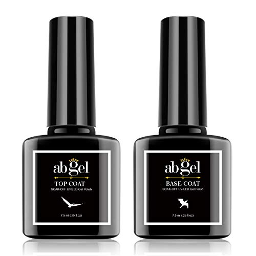 Abgel Gel Top Coat Esmalte de uñas en gel, 2pcs 7.5ml Base de esmalte de uñas en gel transparente y esmalte de uñas, Soak Off LED / UV No Wipe Gel Top Coat Esmalte de uñas