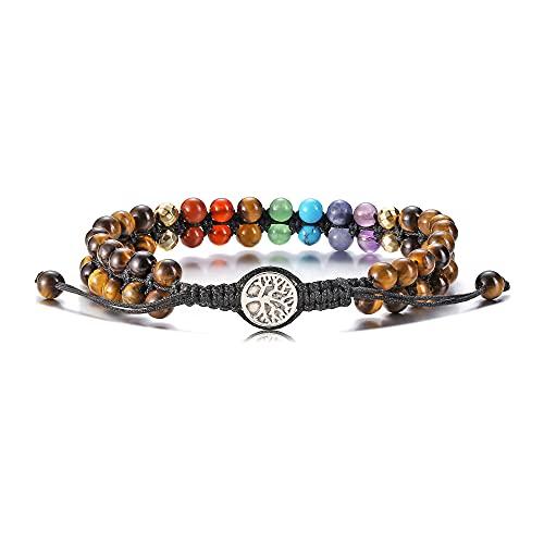 Jovivi - Pulsera de chakra de doble fila con cuentas de piedra natural, ajustable, tejida con árbol de la vida, one size, ojo de tigre.,