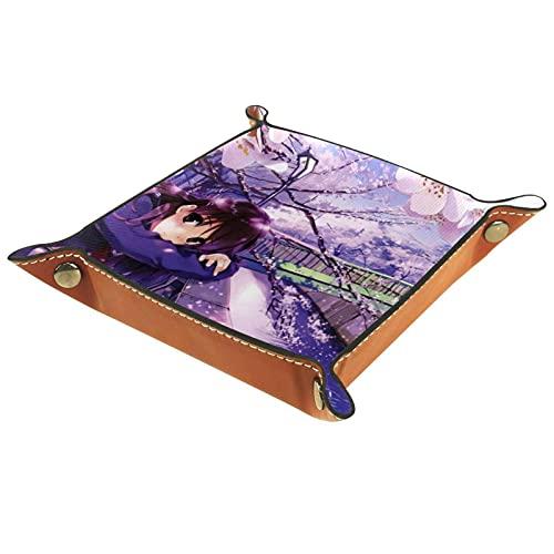 Bandeja para dados, bandeja plegable de piel sintética para juegos RPG y otros juegos de mesa, diseño de anime niña Sakura