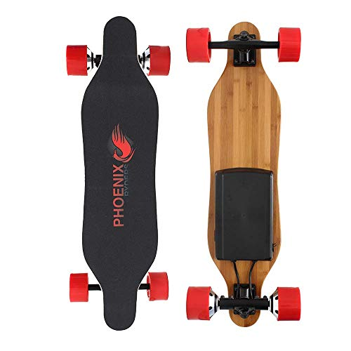 Alouette Phoenix Ryders Electric Skateboard Longboard 4.4AH Lithium Battery,Dual Motor Each 250W, 32 Inches Maple with Remote Control (Red)