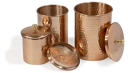 Red Co. Decorative Round Hand-Hammered Copper Nesting Canisters